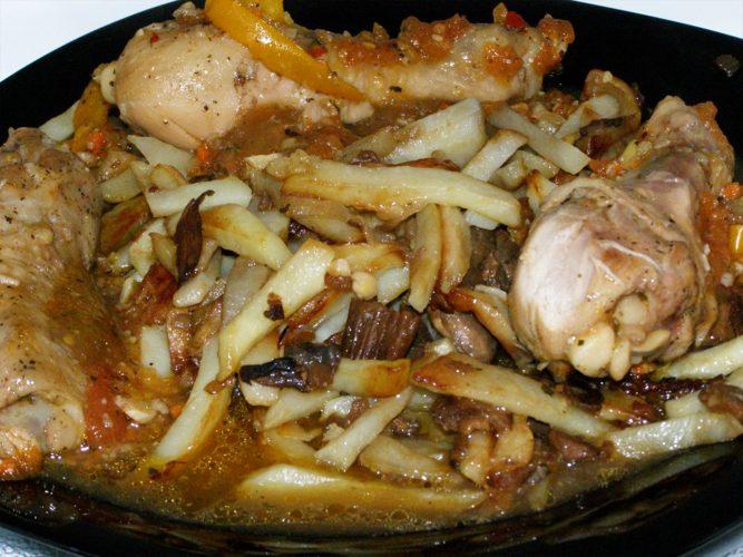 Рецепт картошка с грибами и курицей
